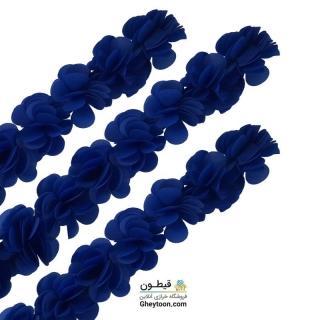 گل حریر ساتن سایز بزرگ آبی کاربنی