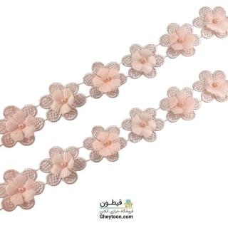 نوار گل گلبهی گیپور مروارید دار