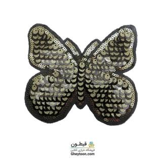 استیکر پولکی پروانه مشکی طلایی