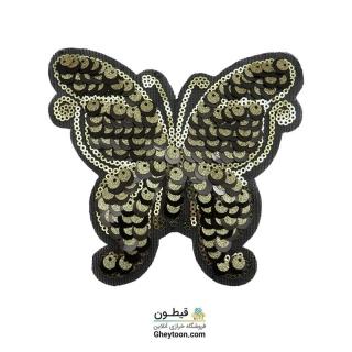 استیکر پولکی پروانه مشکی طلایی 002
