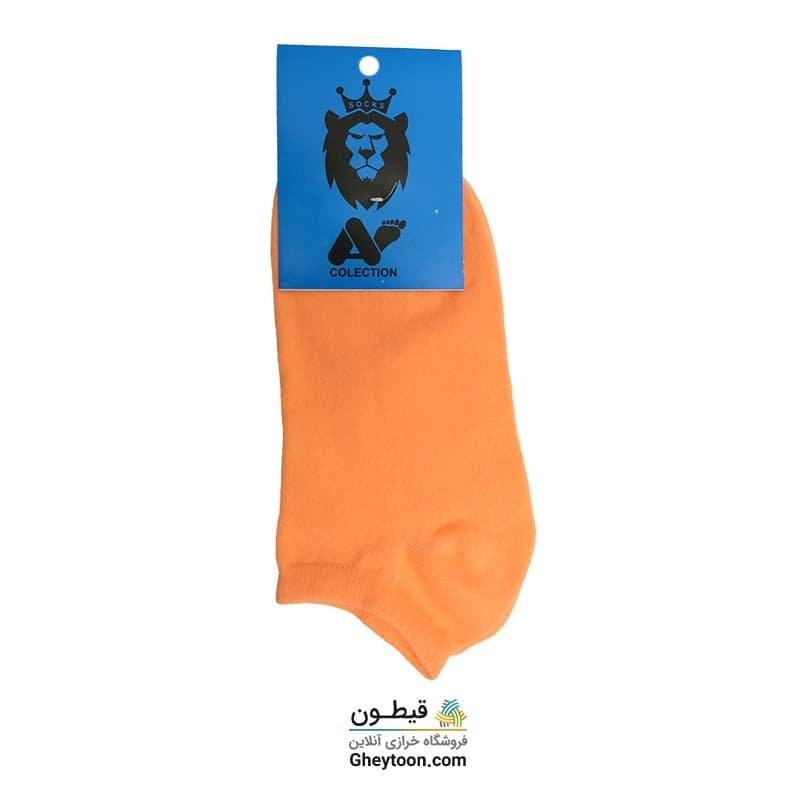 جوراب نیم ساق ساده نارنجی روشن