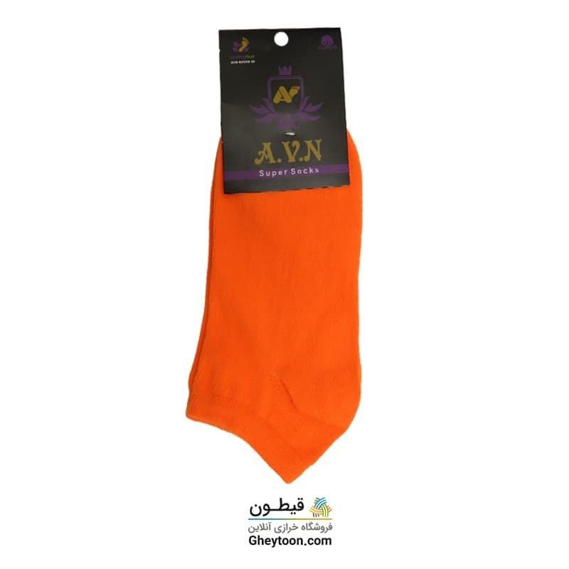 جوراب نیم ساق ساده نارنجی جیغ