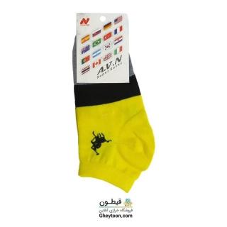 جوراب نیم ساق زرد مشکی طوسی