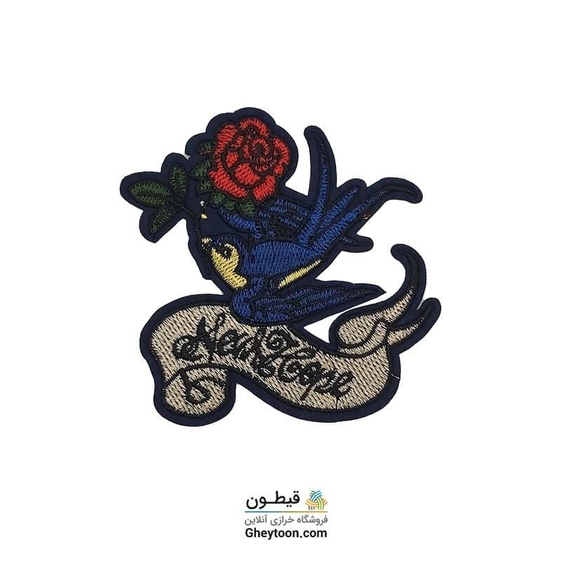 تکه دوزی گل رز و پرنده