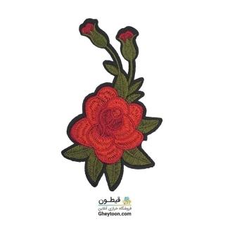 تکه دوزی گل قرمز و شکوفه