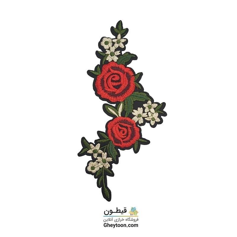 تکه دوزی دسته گل دو گل رز
