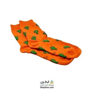 جوراب کاکتوس نارنجی نیم ساق