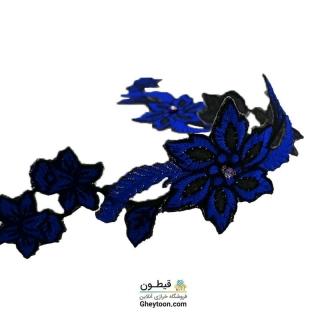 نوار گل گلدوزی نگین دار حرارتی اپلیکه ای آبی کاربنی