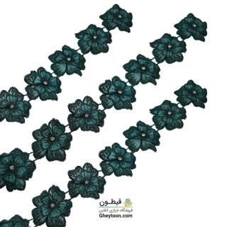 نوار گل حریر دوز گلدوزی شده ایرانی نگین دار سبز