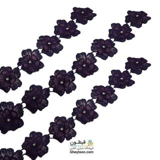 نوار گل حریر دوز گلدوزی شده ایرانی نگین دار بنفش