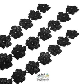 نوار گل حریر دوز گلدوزی شده ایرانی نگین دار مشکی