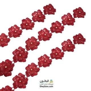 نوار گل حریر دوز گلدوزی شده ایرانی نگین دار قرمز