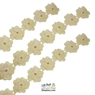 نوار گل حریر دوز گلدوزی شده ایرانی نگین دار لیمویی