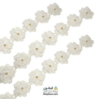 نوار گل حریر دوز گلدوزی شده ایرانی نگین دار سفید