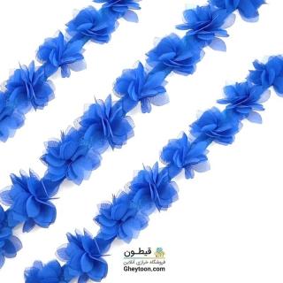 گل حریر جنس حریر سایز کوچک آبی کاربنی