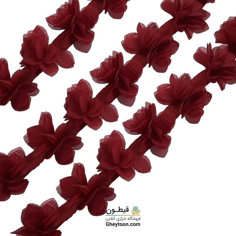 گل حریر جنس حریر سایز کوچک زرشکی
